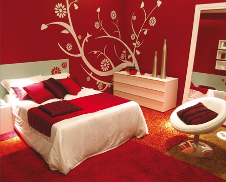 Beautiful red bedroom decor ideas for Bedroom mural designs