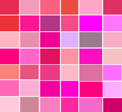 List of top pink products Shades of orange colour chart