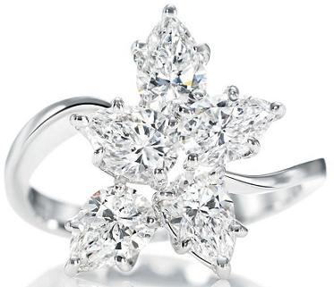 Harry Winston Platinum Cluster Ring