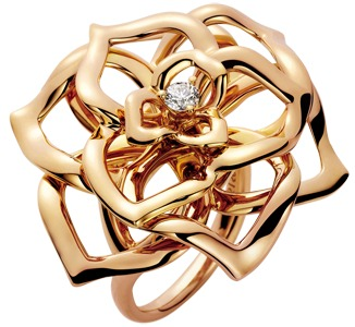 Magic Gardens Of Piaget Gold Rose Motif Diamond Ring