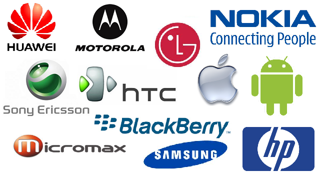 Logos of famous mobile phone companies