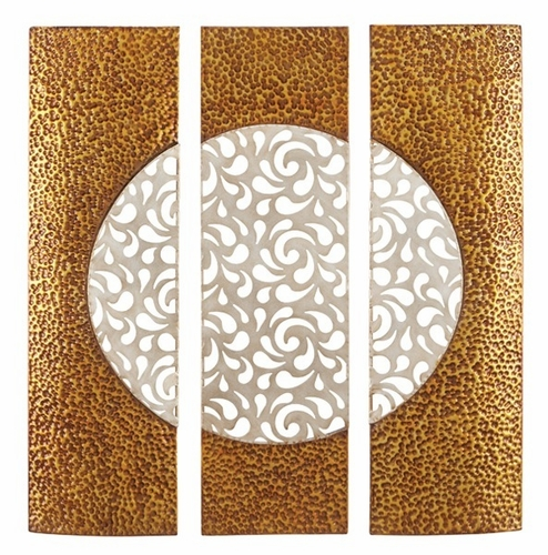Abstract Moon Metal Wall Art Golden and White