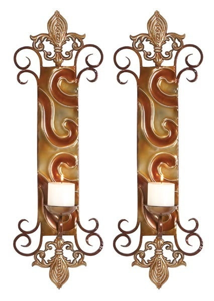 Fleur-de-Lis Visions Two-Piece Metal Wall Candle