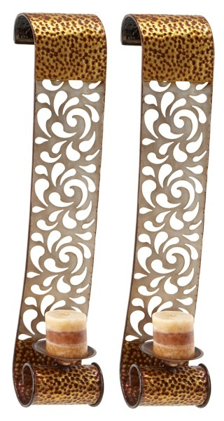 Silver Scrolls Candle Wall Art Sconces