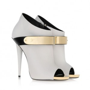 Guiseppe Zanotti White Nappa Leather Gold Buckle Peep Toe Booties