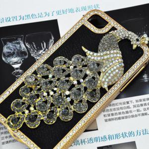 iPhone 4G 4Gs 4S Black Leather Peacock Diamond Rainstone Bling Case Cover Skin