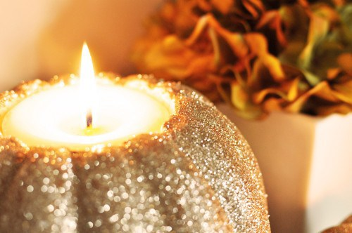 DIY Glitter Pumpkin Candle