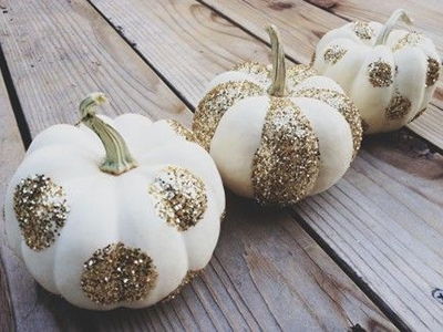 White and Gold Glitter Pumpkins