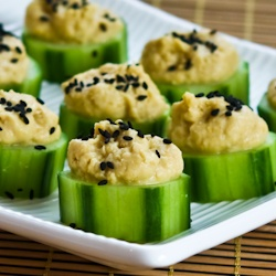 Hummus and Cucumber Bites with Sesame Seeds