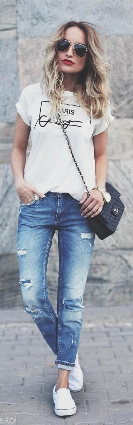 Distressed Jean Fashionable Outfit Ideas